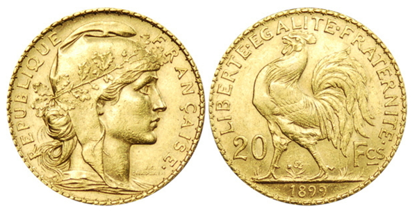 Rooster on the Gold 20 Franc