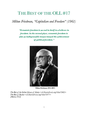 milton friedman capitalism and freedom essay Capitalism and freedom by milton friedman - chapter 1, the relation between economic freedom and political freedom summary and analysis.
