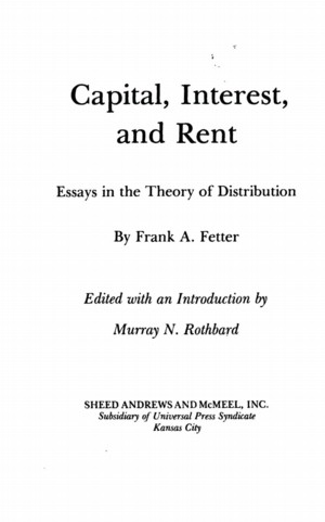 Capital, Interest, and Rent